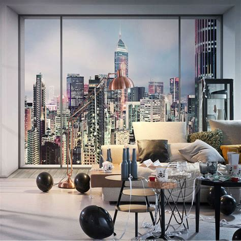 window city landscape photo wallpaper large wall mural
