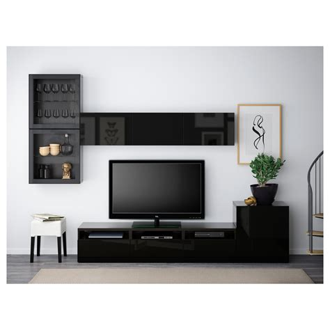 besta high gloss best 197 tv storage combination glass doors black brown