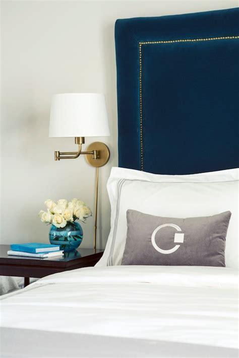 peacock blue headboard hollywood regency bedroom