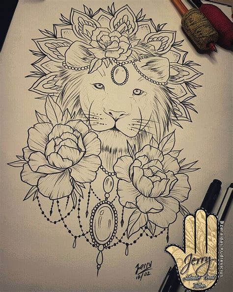 ideas  mandala lion  pinterest lion art mandala lion tattoo  panda tattoos