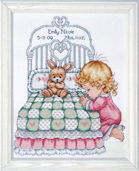 Counted Cross Stitch Kits Birth Record Bedtime Prayer Birth Record Counted Cross Stitch Kit Crosstitching Projects