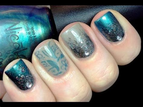 nail art konad tutorial mystical nails a timelapse video glitter gradient
