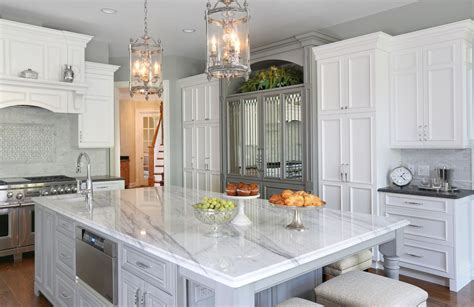 traditional formal white  grey kitchen crystal cabinets