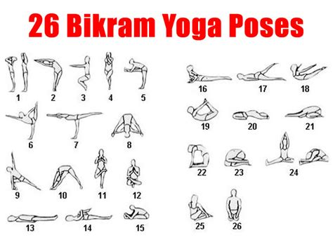 printable beginner yoga poses chart free printable chart 26 pose of bikram yoga bikram