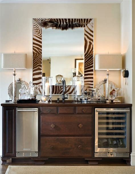 buffet table with built in wine cooler zebra mirror eclectic dining room joy tribout