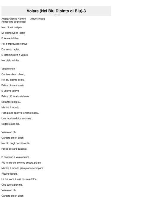 volare canzone testo volare nel dipinto di 3 lyrics nannini
