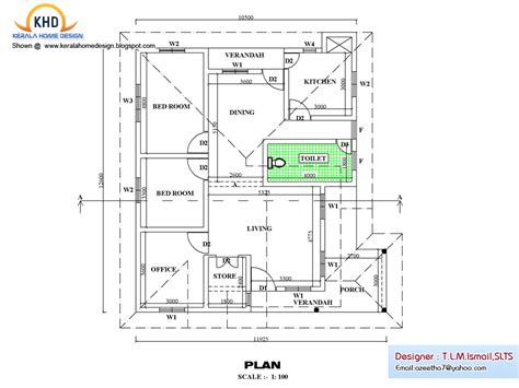 kerala home design with free floor plan single floor house plan and elevation 1270 sq ft