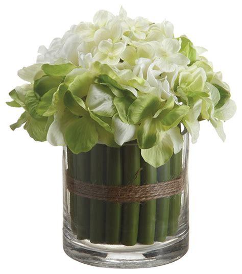 7 inch hydrangea standing bouquet in glass vase green