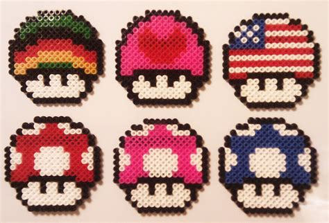 EcoCreo: Super Mario Mushrooms Hama Beads (Pyssla)