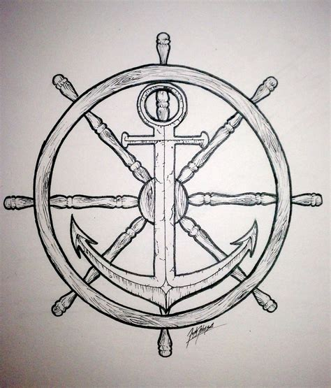 anchor and wheel tattoo designs ships wheel and anchor drawing sea nautical motifs