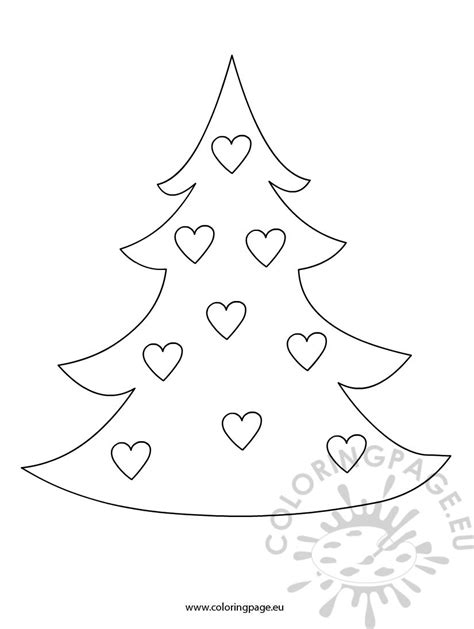 christmas heart coloring page christmas tree with hearts coloring page