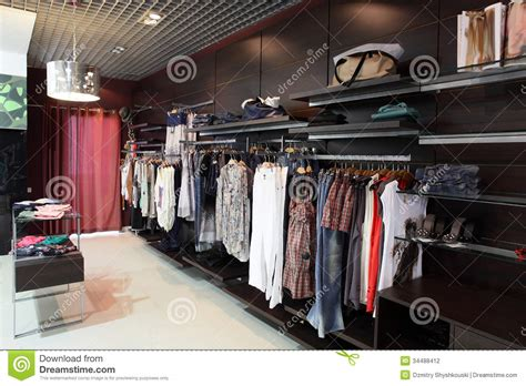 european brand new clothes shop stock photography image