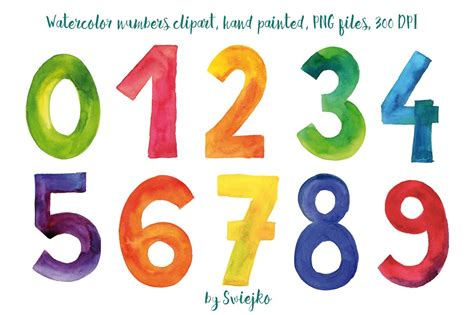 numbers clipart watercolor numbers illustrations creative market
