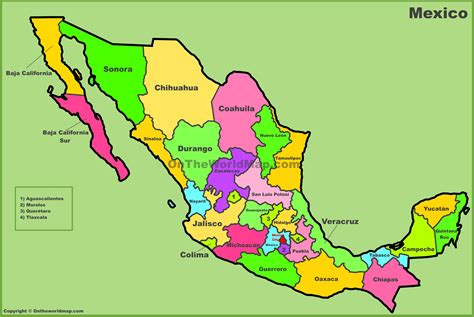 mexico in the map mexican states map my