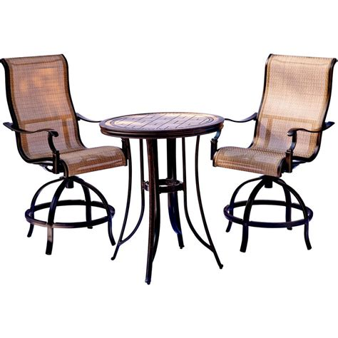 Tile Top Bar Table by Hanover Monaco 3 Outdoor Bar H8 Dining Set With