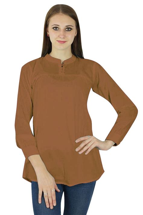 P Blouse Tunik Calista 1 t shirts tops phagun casual tunic sleeves top cotton summer blouse brown