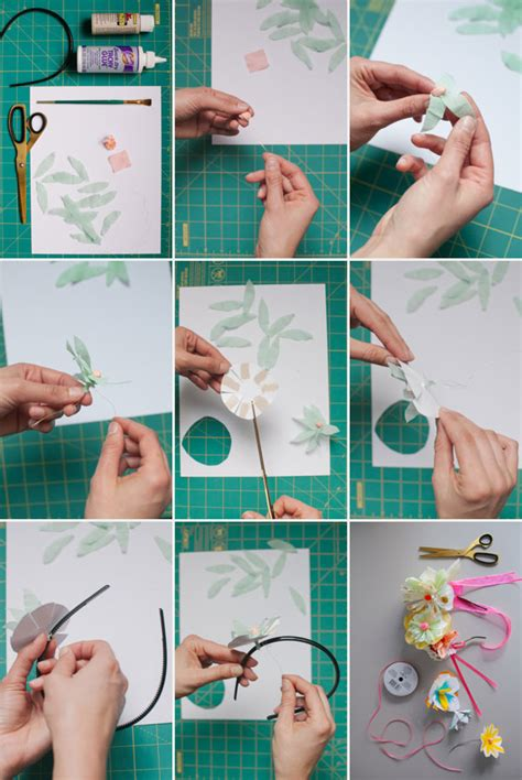 How To Make A Paper Headband - painted paper flower headbands diy