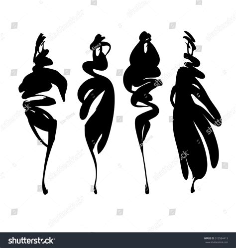 fashion illustration silhouettes set fashion models silhouettes isolated stock vector