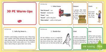 warm  ideas  pe cards pe warm  activities