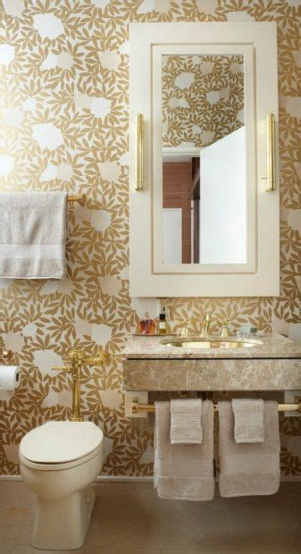 gold white bathroom wallpaper walls ceilings pinterest