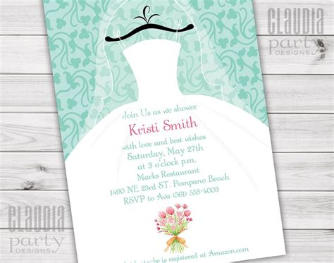 customized wedding shower invitations wedding dress bridal shower invitations