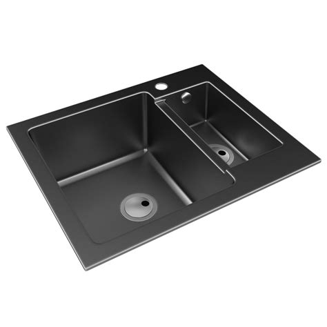 inset kitchen sinks abode zero 1 5 bowl black granite reversible inset kitchen
