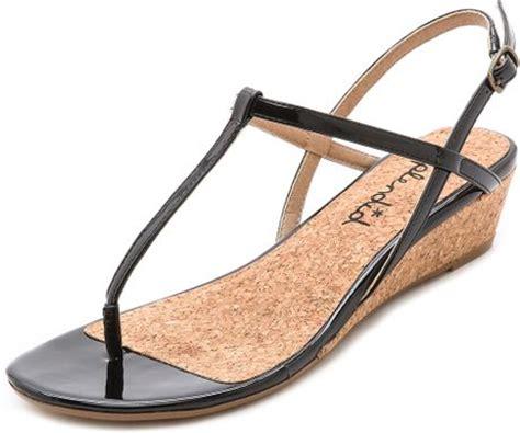 splendid edgewood low wedge sandals white in black lyst