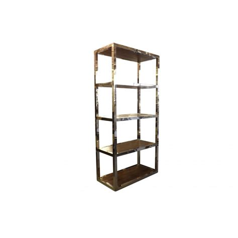 bookshelf in reclaimed timber and stainless steel