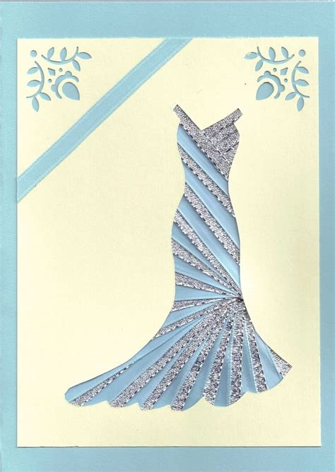 Iris Folding Papers - ribbon iris fold card dress in silver and blue quilt
