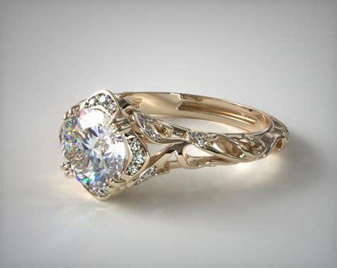 filigree engagement ring 18k yellow gold 17450y