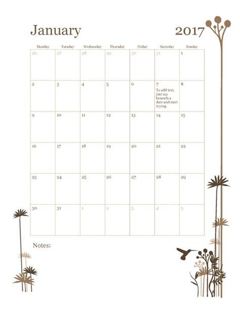 Calendar 2017 Template Powerpoint 2017 12 Month Calendar Mon Sun Office Templates
