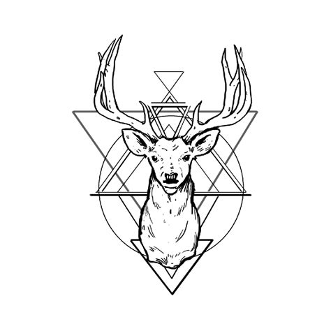 tattoo geometric png good outline deer head on geometric background tattoo