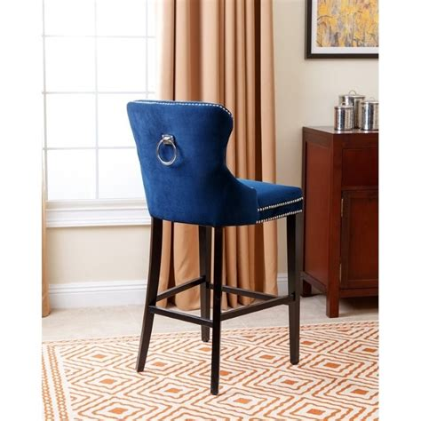 Blaise Bar Stool by Abbyson Living Blaise 30 Quot Upholstered Bar Stool In Navy