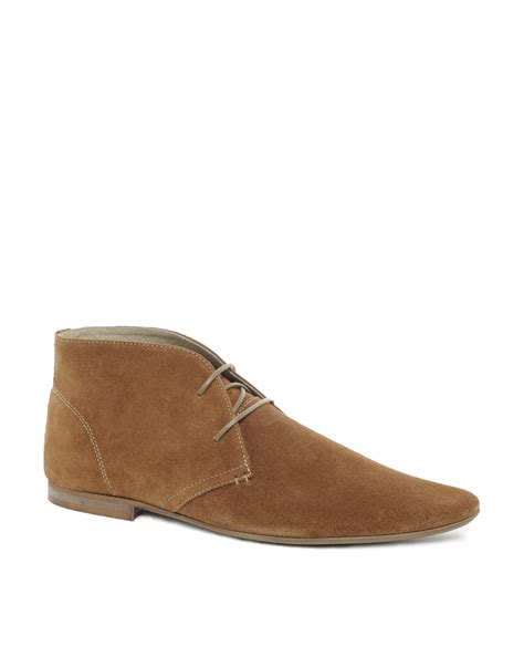 fred perry asos chukka boots in suede in brown for