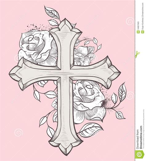 cross and rose tattoos pix for gt cross with roses and banner tattos i