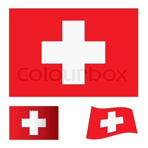 flags of the world red with white cross red flag background with white cross swiss icon stock