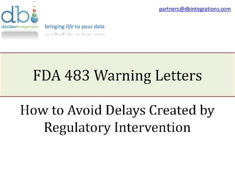 how to avoid an fda form 483 warning letter