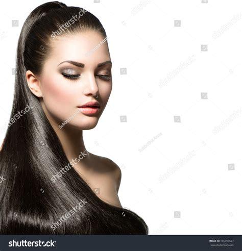 models with stright hair beauty brunette fashion model girl long stock photo