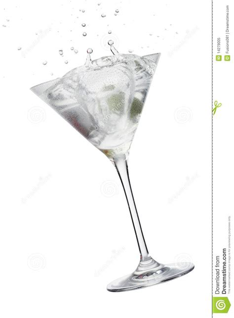 cocktail splash glass cocktail with olive splash royalty free