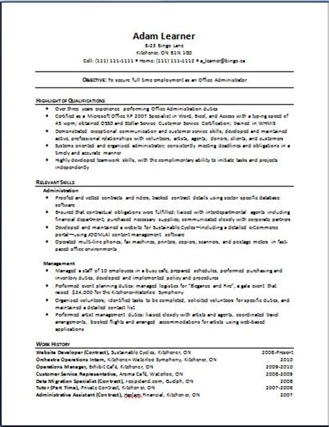 Functional Resume The Working Centre