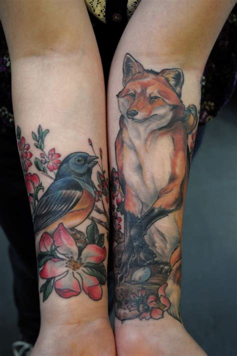animals tattoos lovely colorful fox with bird forearm