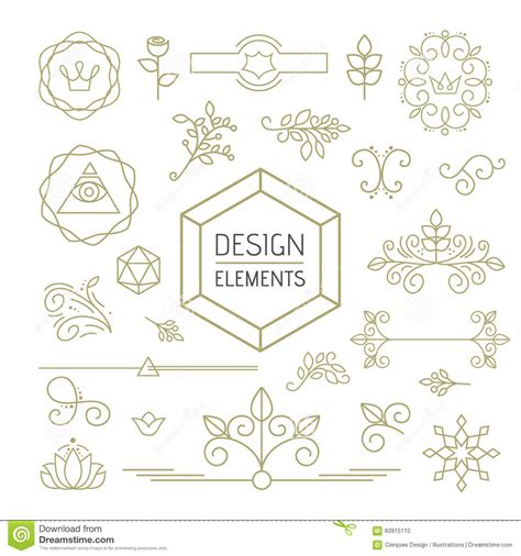 magazine design elements vector design element set mono line art ornamental nature stock