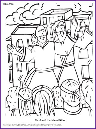 free coloring page paul in prison paul and silas preaching bible paul s journeys