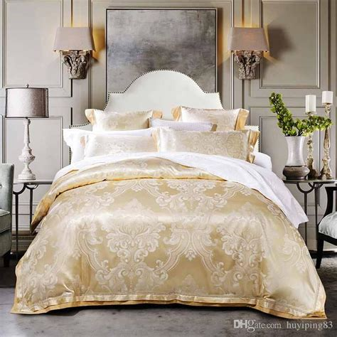beigegold jacquard satin bedding sets luxury tribute silk duvet cover king queen size bed set