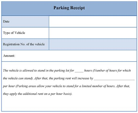 parking lot receipt template database error