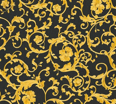 gold versace pattern wallpaper versace home floral black gold glitter 34326 2