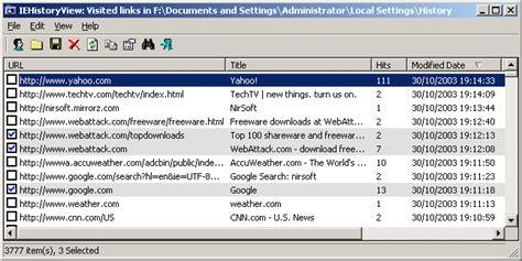 Ie historyview freeware internet explorer history viewer