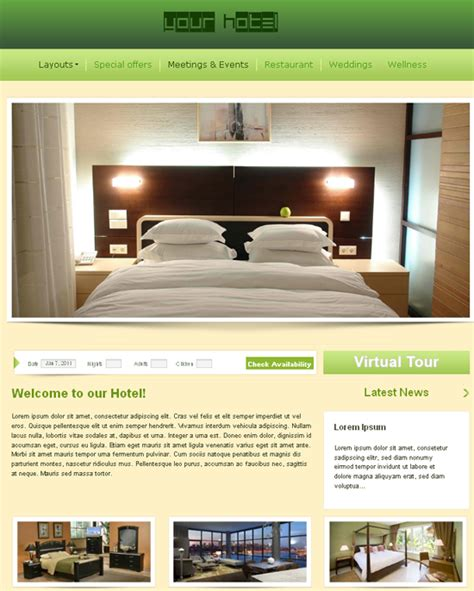 free hotel templates free dreamweaver templates now with automatic installer