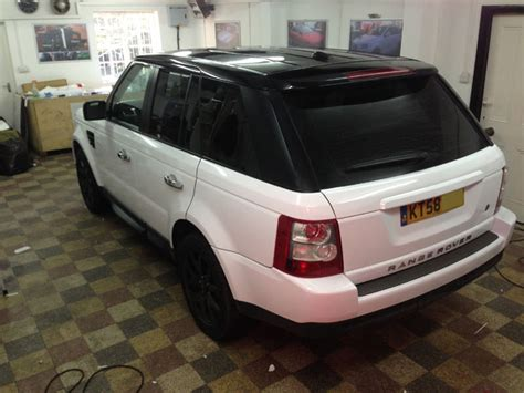 white wrapped range rover range rover sport wrapped white