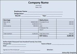 editable payslip template free editable salary slip template exle for monthly